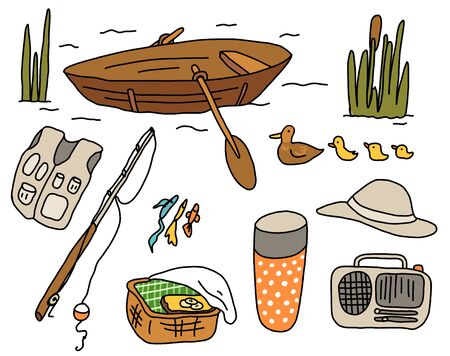 Fishing on a boat. Fishing rod. Summer vacation by the river. Picnic. Hand drawn sketch. Vector cartoon illustration. Illusztráció