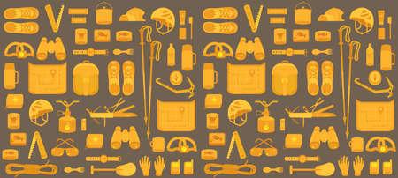 Camping set. Mountain hike equipment kit. Tourism travel adventure. Seamless pattern background. Flat vector illustration.
