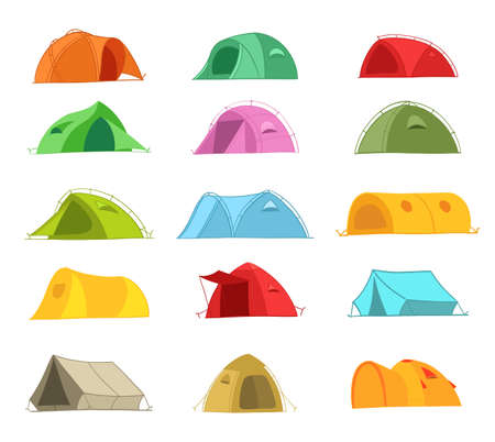 Tents for a summer vacation in nature. Icon set. Different colors and designs. Tourism adventure. Travel camping. Flat vector illustration. Vectores