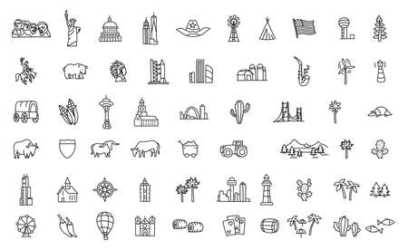 America set of icons. USA tourist attraction. United States of America. Black line flat vector.