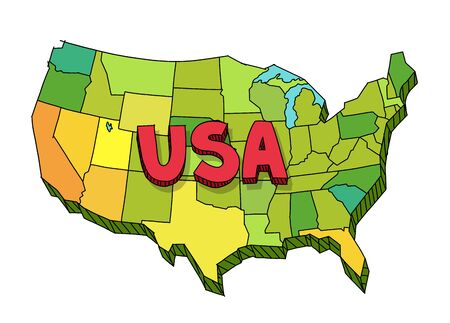 Drawn map of USA. United States of America. Vector colour hand-drawn sketch.