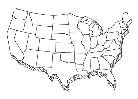USA map sketch. Tourist. United States of America country. Freehand Illustration. Line hand-drawn vector. Ilustrace