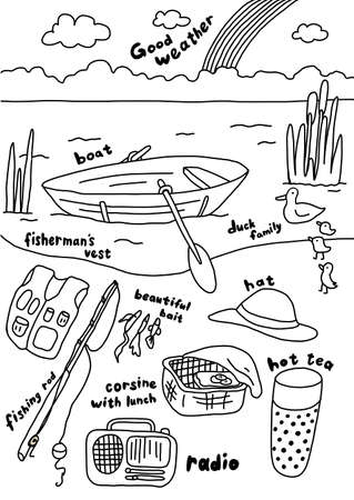 Fishing on a boat. Fishing rod. Summer vacation by the river. Picnic. Hand drawn. Contour line sketch. Vector cartoon illustration clipart. Çizim