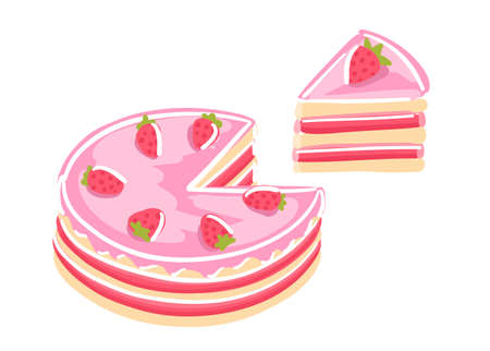 Cake with strawberries. Sweet dessert. Piece of pink cake. Hand drawn sketch. Pastry fancy pink cream. Vector cartoon illustration.