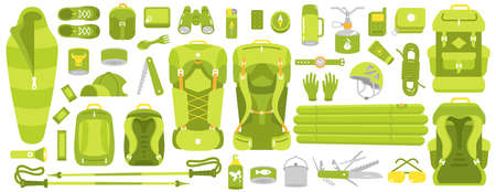 Camping set. Hiking equipment kit. Tourism travel adventure. Trekking. Flat vector green colour style illustration clipart. Ilustração