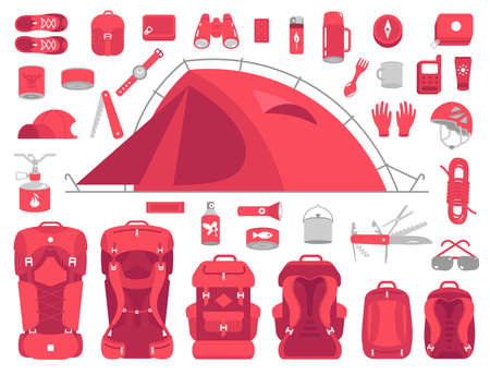 Camping equipment set. Mountain hike kit. Trekking outfit. Hiking tent. Backpack size. Tourism travel adventure. Flat vector red colour illustration. Vectores