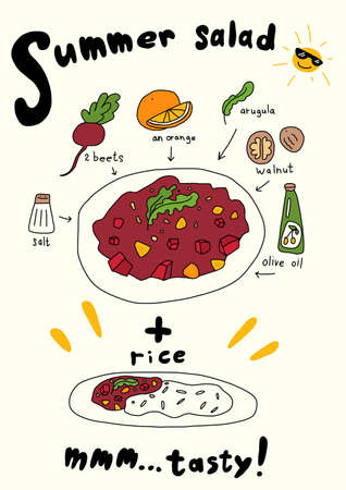 Summer beetroot salad recipe. Cooking Ingredients. Hand drawn sketch. Vector cartoon illustration for infographic set. Tasty and healthy food.