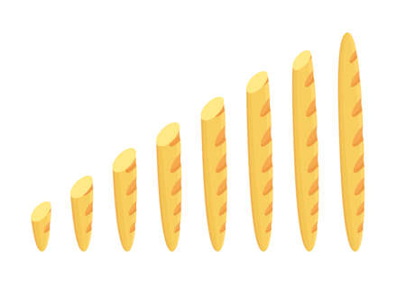 Cut baguette size. Bakery bread variety. Long to short. Animation progression. Business growth infographic. Vector flat illustration clipart.  イラスト・ベクター素材
