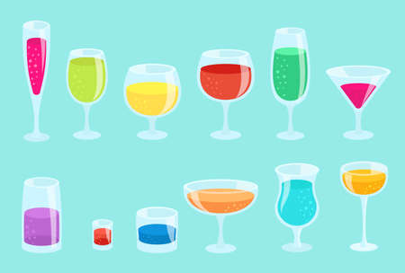 Set of glasses with drinks. Beverage glassware kit. Cocktail glasses collection. Horizontal banner. Flat vector color illustration. On a blue background.
