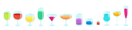 Set of glasses with drinks. Beverage glassware kit. Cocktail glasses collection. Horizontal banner. Flat vector color illustration.
