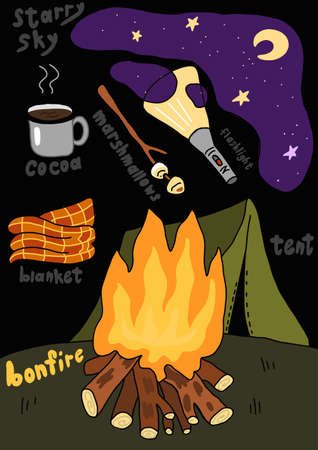 Camping tent campfire night. Travel tourism. Summer bonfire vacation. Night sky. Hand drawn sketch. Vector cartoon illustration clipart.