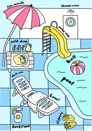 Swimming pool, water attractions. Aquapark. Deck chair under an umbrella. Sunscreen. Slippers and an inflatable ball. Vector cartoon illustration clipart.