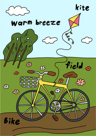 Summer bike ride. Recreation. Bicycle with a basket. Field road. Walk. Vector cartoon illustration clipart.  イラスト・ベクター素材
