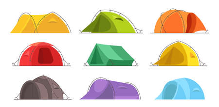 Tents for a summer vacation in nature. Icon set. Different colors and designs. Tourism adventure. Travel camping. Flat vector illustration clipart.