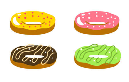 Donuts set. Multicolor cream. Pink, green chocolate and yellow. Delicious dessert. Hand drawn sketch. Vector illustration.