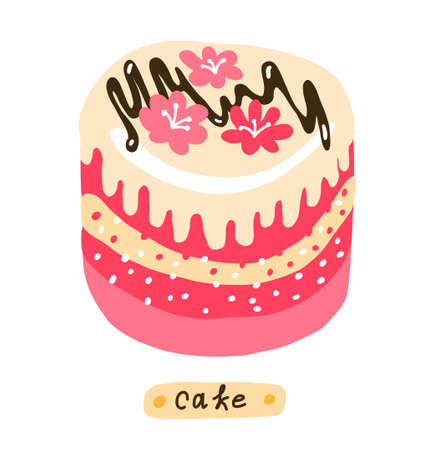 Cake. Sweet dessert. Pastry fancy pink cream. Hand drawn simple sketch. Vector cartoon illustration clipart.  イラスト・ベクター素材