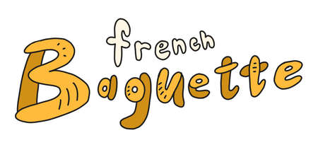French baguette. Signboard. Bread shop. Hand drawn sketch. Vector cartoon illustration. Bakery banner.