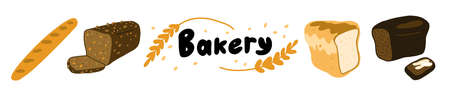 Bakery horizontal banner. White wheat and brown bran bread. Different types assortment shop. Hand drawn sketch. Vector cartoon illustration.