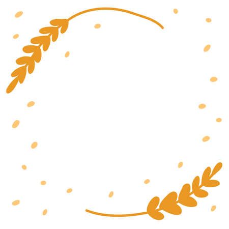 Bakery banner frame background. Ears of wheat or rye. Hand drawn sketch. Place for text. Copy space. Vector cartoon illustration.  イラスト・ベクター素材