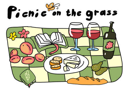 Picnic on the grass. Outdoor summer nature. Lunch in the park. Hand drawn sketch. Romantic dinner. Vector cartoon illustration. Food and wine.