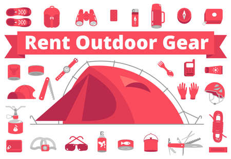Rent outdoor gear. Camping gear rental. Mountain hike equipment set. Tourism travel adventure. Trekking hiking tent. Flat vector red colour style illustration clipart.  イラスト・ベクター素材