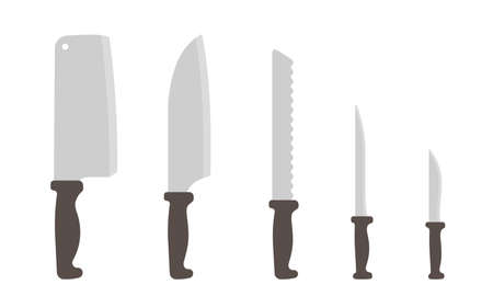 Set of knives size. Scale variability. Kitchen tools collection. Different types of knives. Kitchenware for various purposes. Vector illustration clipart.