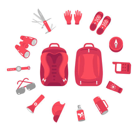 Contents of a hiking backpack. Camping knapsack set. Mountain hike bag equipment kit. Tourism travel adventure. Flat vector illustration clipart.  イラスト・ベクター素材