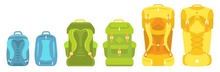 Backpack scale. Baggage size. Camping bag set. Mountain hike pack-sack kit. Trekking knapsack. Tourism travel backpack. Small medium and large. Flat vector illustration.