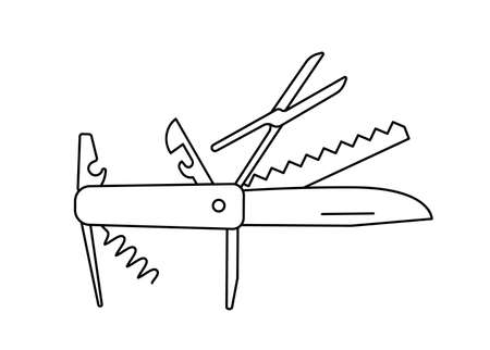 Jackknife multi-tool. Folding army knife. Unfolded position penknife. Contour black line. Vector illustration.