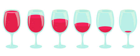Drinking process. Different amount of drink. Set of glasses with red drink. Pour the wine. Small to large beverage. Animation progression stages vector infographic.