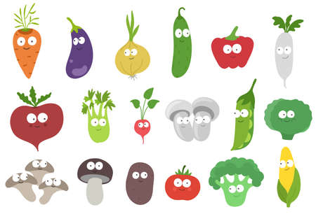 Funny vegetables characters set. Vitamins your friends mascot. Hand drawn sketch. Vector cartoon illustration.