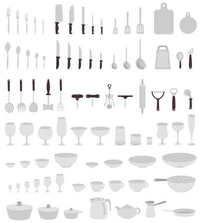 Utensils big set. Dinnerware equipment collection. Kitchenware accessory. Flat vector background illustration. Illustration