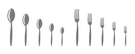 Forks and spoons. Set of different scale sizes. Kitchenware shop. Vector banner infographic. Small to Large.