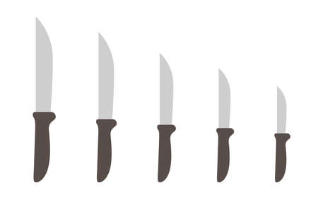 Knives size. Scale variability. Kitchen tools. Kitchenware collection. Vector illustration. Vettoriali
