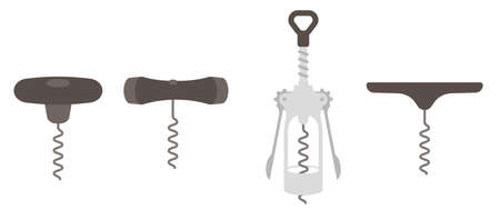 Corkscrew tool. Kitchenware accessory collection. Bottle corks opener variability. Flat vector.