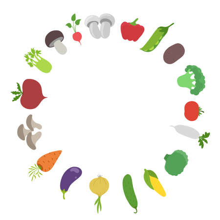 Vegetable round frame. Garden harvest. Circle background. Vector flat illustration. Growing agriculture. Copy space.