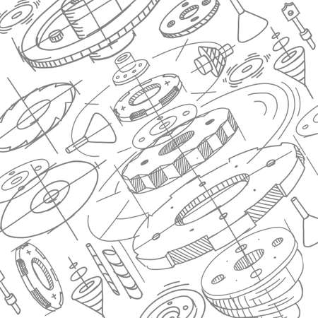 Spare parts pattern. Gears wheels background. Sketch hand drawn. On white background. Design drawing. Vector.