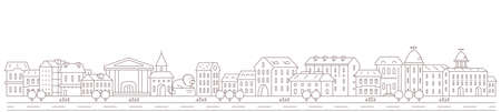 City town panorama. Downtown street and road. Long horizontal banner. Copy space. Vector contour outline illustration.