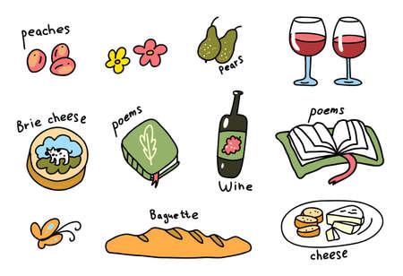 Picnic icon set. Hand drawn sketch. Romantic dinner. Vector cartoon illustration.