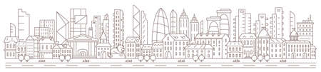 City panorama. History downtown against the backdrop of modern skyscrapers. Horizontal banner. Flat vector contour outline. Road street sidewalk. Parallax ready.