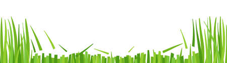 Lawn mowing. Green grass cut. Horizontal banner background. Copy space. Vector illustration. Illustration