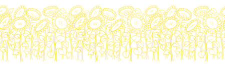 Sunflower field. Agriculture plant. Harvest. Hand drawn sketch. Seamless pattern horizontal banner. Vector illustration. Oil production wrapper. Thin yellow line. Illustration