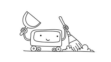 Robot Vacuum cleaner sketch. With broom and scoop. Illustration hand drawn. Tidy up cleaning. Smart House gadget. Housekeeper the character.