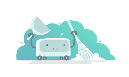 Robot vacuum cleaner character. Vector flat illustration. Tidy up cleaning. Smart house. Housekeeper cleanup. With broom and scoop.