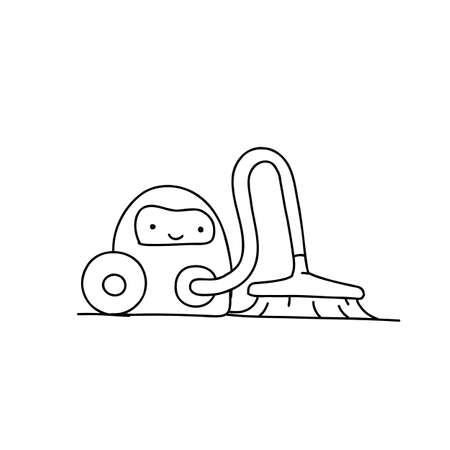 Sketch. Vacuum robot cleaner character. Illustration hand-drawn. Tidy up cleaning. Smart House.