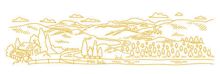 Rural landscape. Garden trees. Village field and the hills. Hand drawn sketch. Countryside. Contour vector line. Horizontal banner. Illustration