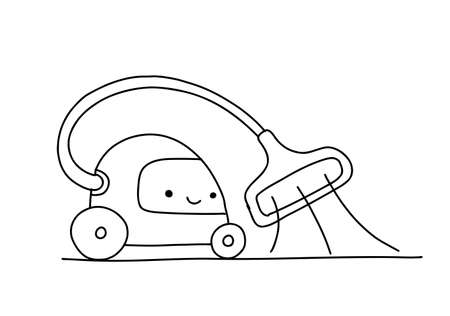 Sketch. Vacuum robot cleaner character. Illustration hand-drawn. Tidy up. Cleaning. Smart House.