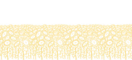 Sunflower field background. Agriculture flower plant. Hand drawn sketch. Oil production wrapper. Thin yellow line. Vector illustration. Copy space.