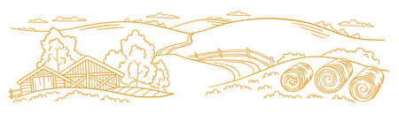The farm is livestock. Rural landscape. Hay fodder in the barnyard. Village field and the hills. Hand drawn sketch. Countryside. Contour vector line. Horizontal banner. Illustration