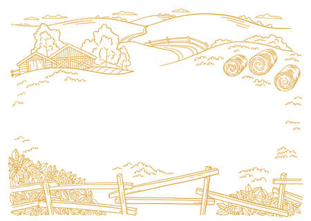 The farm. Place for your text. Hay fodder in the barnyard. Village rural countryside landscape. Rustic fence. Hand drawn sketch. Contour vector line. Copy space. Vettoriali
